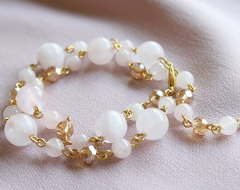 Rose Quartz Gemstone Beaded Bracelet - Multistrand, Dainty Sattelite Chain, Pink Birthstone Quartz Bracelet, Rose Gold Jewellery, Women Gift