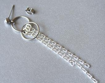 BTS Jimin Inspired Earrings - Chain Statement Asymmetrical Earrings, Sterling Silver, Unisex Stainless Steel Stud Earrings, Kpop Fashion