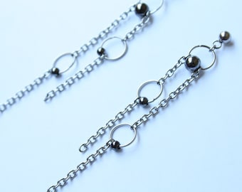 Stainless Steel Chain Statement Earrings - Cool Metal Asymmetrical Earrings, Chain Jewelry, Kpop Fashion, BTS Inspired, Metal Stud Earrings