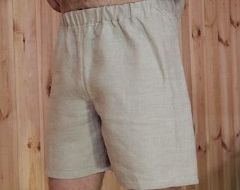 Mens linen knee length pants Summer Day straight wide shorts flax bermuda for men natural designer clothing custom made comfortable wear
