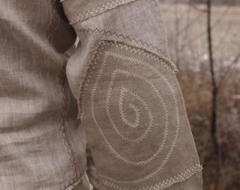 Mens  linen shirt Slavic style / rustic shirt / embroidered ethnic shirt
