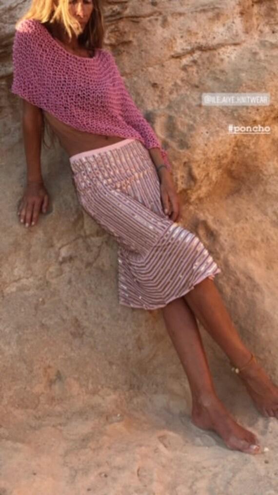 pink sequin skirt,  with slight flared hemline bia