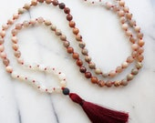 SUN MOON - 108 Mala Beads, Mala Beads, Mala Necklace, Mala, Tassel Necklace, Prayer Beads, Yoga Gift, Sunstone, Opal, Moonstone Jade
