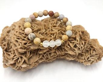 Fossil Coral Bracelet, Selenite Mala Beads, Mantra Japa Mala, Yoga Gift, Meditation Prayer Beads