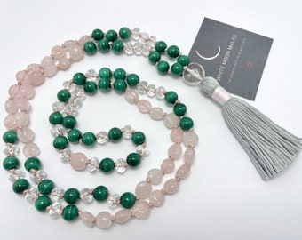 Malachite Necklace, Rose Quartz Mala, Tassel Mala Beads, Spiritual Gift,  Crystal Prayer Beads