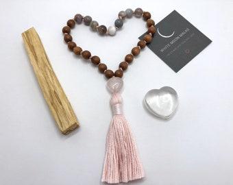 Sandalwood Mala Beads, Botswana Agate Japa Mala, Rose Quartz Crystal, Self-Love Kit, Gift for Women