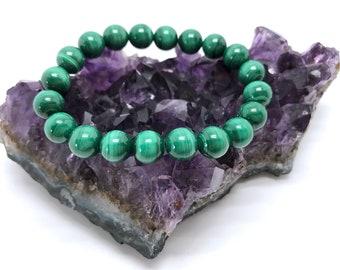 Malachite Bracelet, Crystal Mala Beads, Wrist Yoga Beads, Meditation Prayer Beads, Buddhist Bracelet, Gift For Her