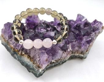 Smoky Quartz Mala Beads, Rose Quartz Wrist Mala, Grounding Bracelet, Meditation Crystal, Gift For Mom