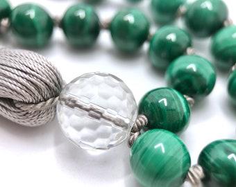 Malachite Necklace, 108 Bead Mala, Tassel Jewellery, Japa Mala 108, Long Necklace