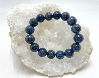 Crystal Bracelet, Dumortierite Japa Mala, Prayer Beads, Spiritual Gift, Meditation Tool, Healing Jewellery