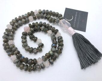 Labradorite Necklace,  Mala Beads, Rose Quartz, Tassel Necklace, Spiritual Gift, Yoga Gift, Meditation Tool