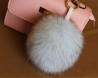 a42814d40049 white raccon fur pom poms keychain genuine fox furry ball bag charms-really  leather Strap Metal Buckle-plush fluffy key chains 16cm