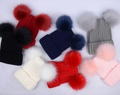 double fur balls Beanies Custom Children Adult Hats Knit Beanies faux fur , false fur puff balls hat, poms hat