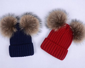 2f6bdd2e9bb natural brown double pom poms hats Children Adult Hats Knitted cotton wool  beanies with raccoon fur Ball Double Pom Poms Beanies Baby Hats