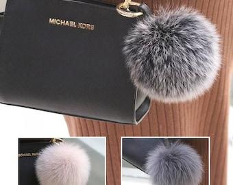 Fox Furry Puffs Bag Charm Pom Pom Keychains Handbag Charm Pom Poms Keyring f6cfe7f955