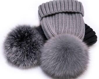 Gray Pom Poms Fox Fur Hats Real Fox Fluffy Wool Cotton Knit Black White  Large POMPOMS Hat Women Fashion Accessories 1fa55d6278e