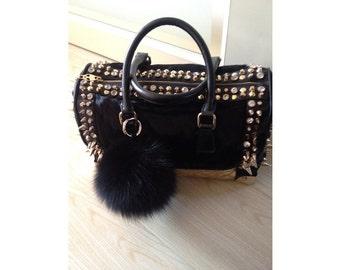 real fox fur ball bag charms 4.5 inch -Black Pompoms Key Ring Bag Pendant  with Strap and Metal Buckle-furry plush genuine fur ball keychain 2c8062899e639
