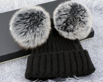 e925c0b020fe6f Two puffs balls beanies double pom poms winter hat Wool Cotton knit Hats  Custom for adult/children Instagram Snow frost puffs fox fur hats