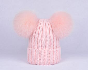 double pom pom hats Custom Children Adult Hats Knit baby pink Hat with Fox  Puffs Ball Double Pom Poms Beanies Baby Hats 230efbde3f8