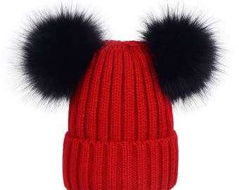 double fur ball hats Custom Children Adult Hats Knit Red Hat with Black Fox  Puffs Ball Double Pom Poms Beanies Baby Hats Children Hats 6962b842bf6f
