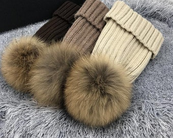 Fur Hats Pompoms Hat Wool Cotton Beanies Custom for Adult   kids Fluffy Hats  Puffs Brown Natural Raccoon Plush Balls Hats light dark brown e878cb9382a0
