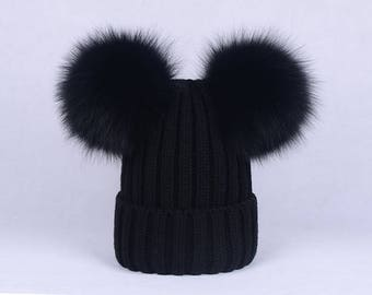 double pom pom hats Custom Children Adult Hats Knit Black Hat with Fox  Puffs Ball Double Pom Poms Beanies Baby Hats 770849c92a5