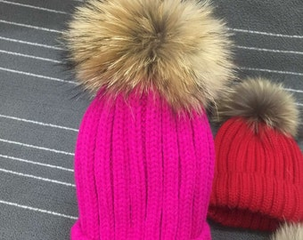 70e2d54e3e0 Puffs Pom Pom Hat Fox Fuzzy Cotton Hats Brown Large Big Real Fox Fur Girl  Hats Fuchsia-Hot Pink Navy Blue light pink dark blue gray black
