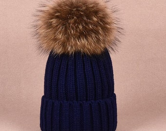 Puffs Pom Pom Hat Fox Furry Cotton Hats Brown Large Big Real Fox Fluffy  Navy Blue light pink dark blue gray black d06775a1b994