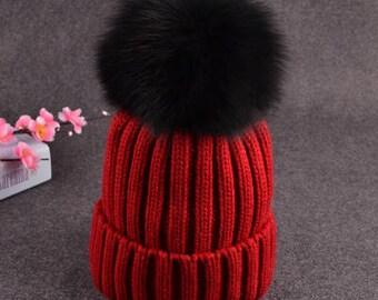 Black Pom Pom Hats Fluffy Large Puffs Women Red Wool Cotton Knit Beanie for  Women Children Black big Fox Plush Ball Beanies a2ecf9b3921
