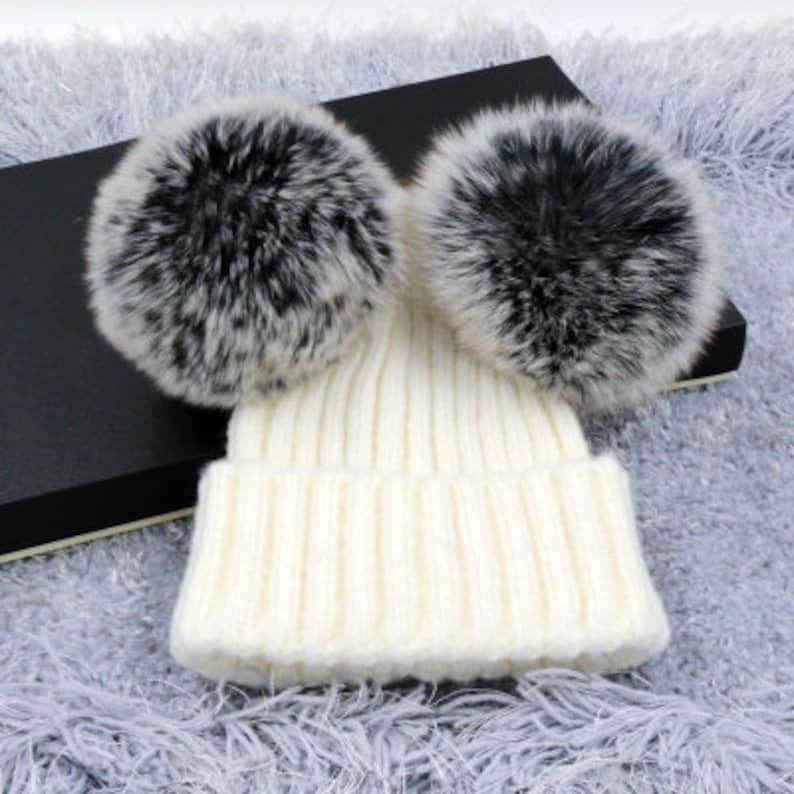 eb13d1c8230 Two puffs balls beanies double pom poms winter hat Wool Cotton