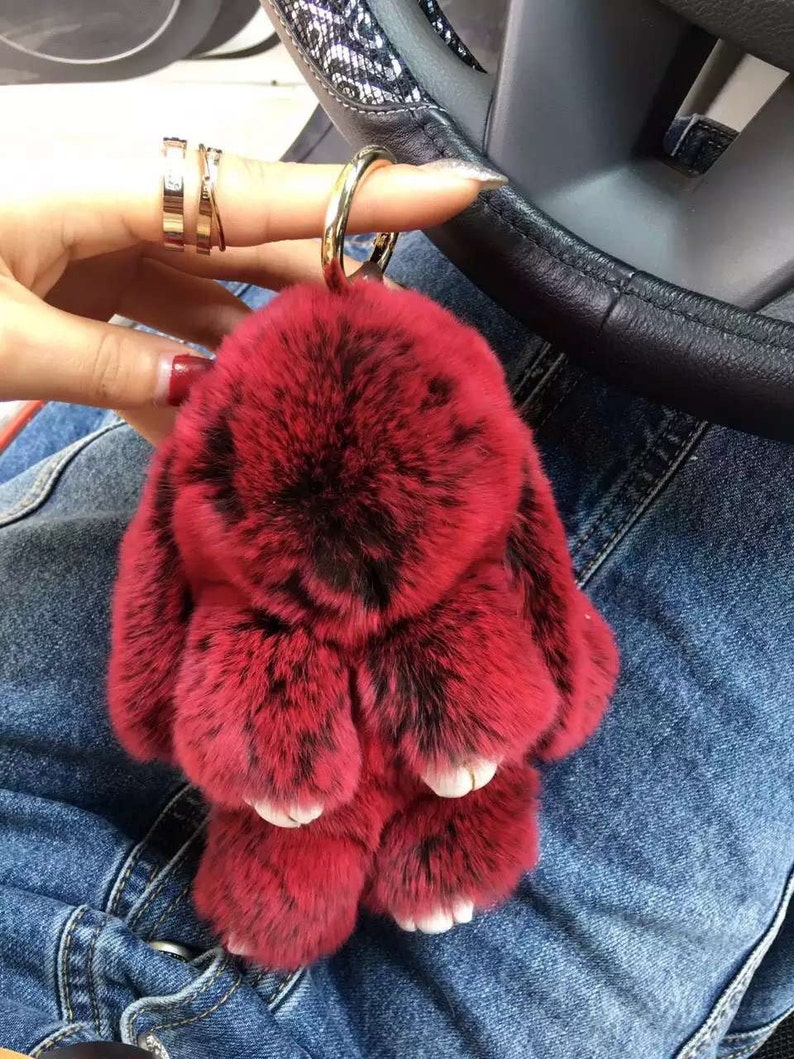 80c1d6c9947c Pompom Keyring hand sewing Real Fur Bunny Doll Cute Women Bag