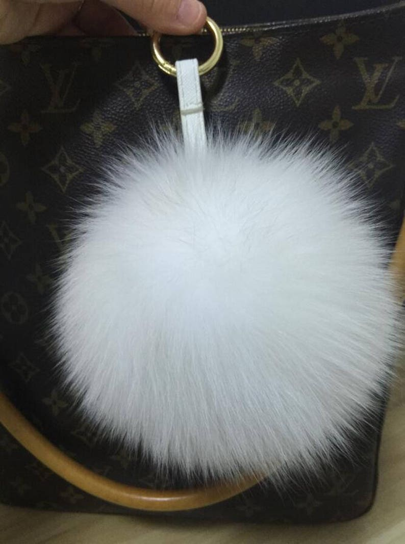 986d35dd76 White Fox Fur Keychain Genuine Pom Pom bag charm plush furry