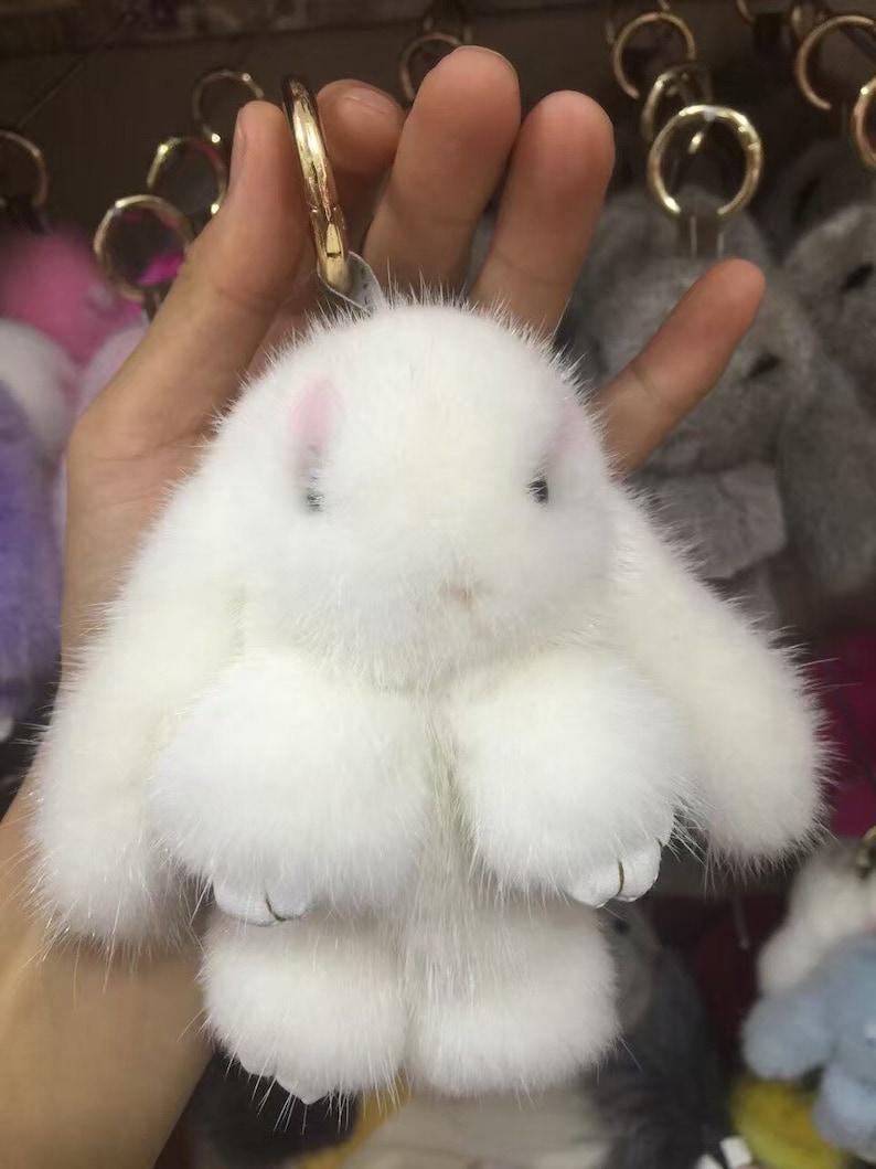 63b2158ead Kawaii Bunny Keychains Fluffy Pom poms Bunny Dolls Key Ring