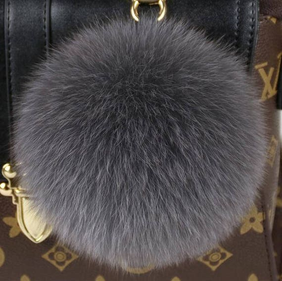 b5d8391669 Large Pompoms Bag Charm Genuine Grey Fox Puffs Keychains