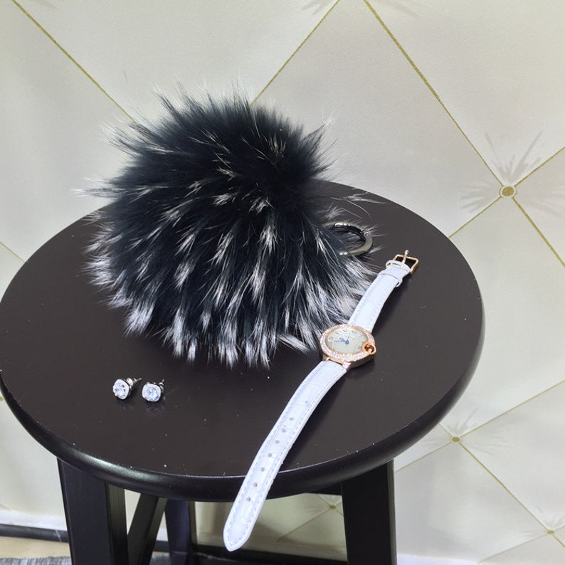 Fur lanyard. Bag charm   with chain and Real leather Black   Mink tail  key ring