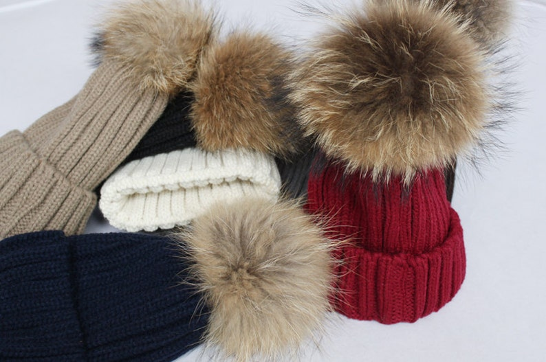 b397b6f8696 Large Fur Ball Hats big and fluffy Pom Poms Fox Fur Hat Cotton
