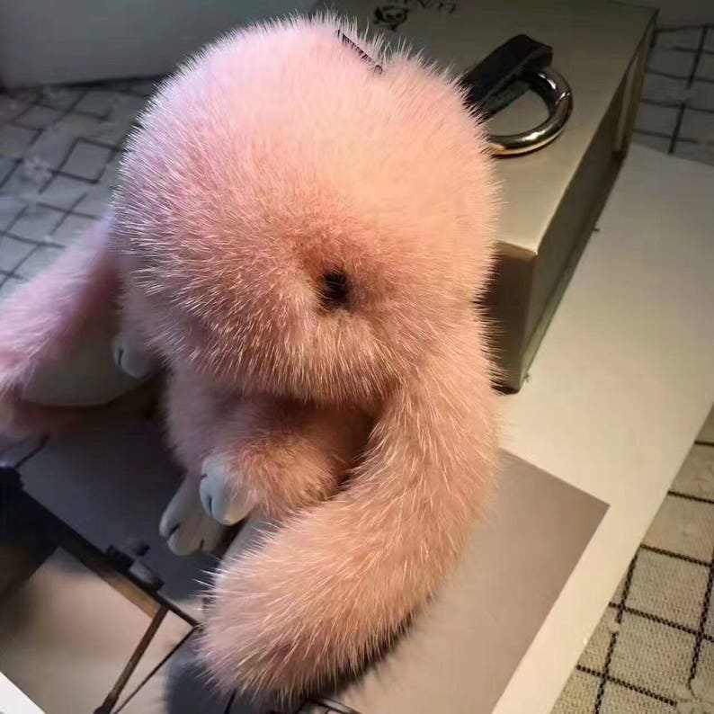Mink Bunny Keychains Soft Fluffy Bag Charm Real Fur Pom poms  13d4db18f