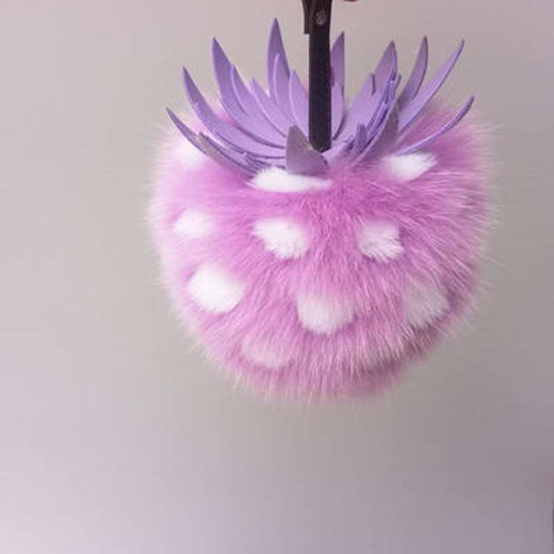 6c15712370 Large Puffs Tote Charm Luxury Pompoms Keychain Fuzzy Pineapple Keychains  Light Purple Fluffy 16cm Fur Balls