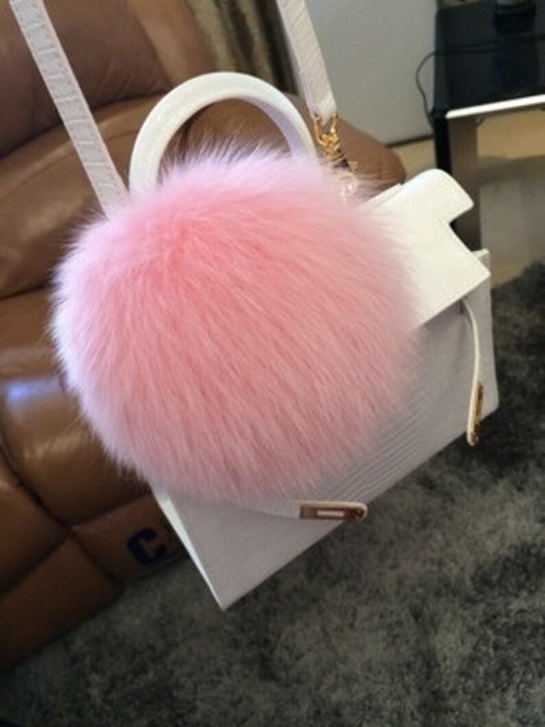 64a90c4ea7a7 Pink Fluffy Bag Charm Handbag Accessories Light Pink Fox Fur