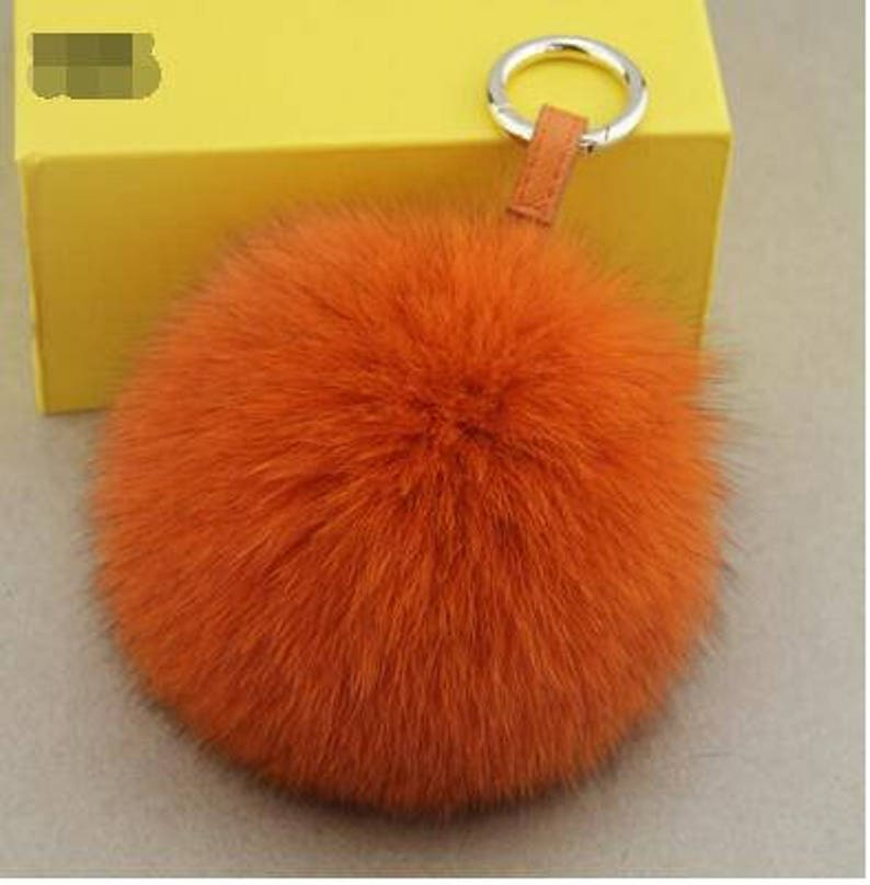 07b2d0eaa1 Orange Fox Fur Keychain Genuine Pom Pom bag charm plush furry