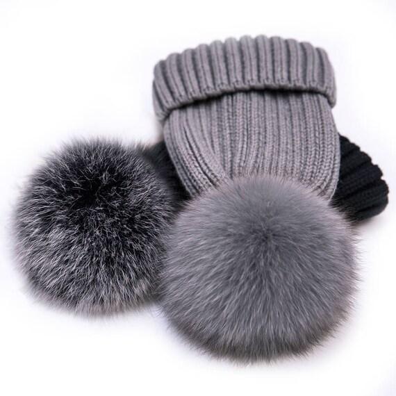 Gray Pom Poms Fox Fur Hats Real Fox Fluffy Wool Cotton Knit  4b456553ea0e