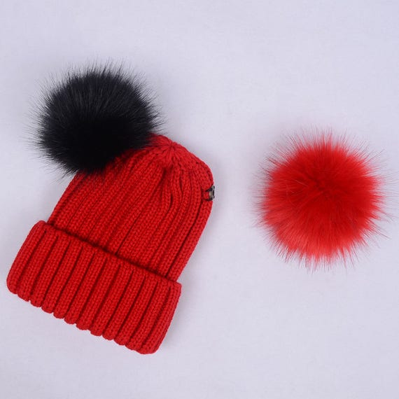 double fur ball hats Custom Children Adult Hats Knit Red Hat  0d94a6202f00