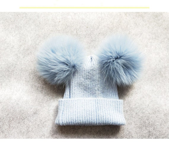 Two Puffs Ball Beanies Custom Children Adult Hats Knit Baby  530a38c3c489