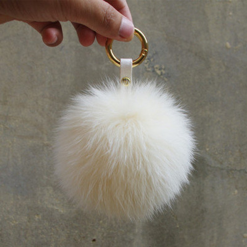 d4bb742e63 Fox Fur Key chains Genuine Pom Pom Tote charm plush furry