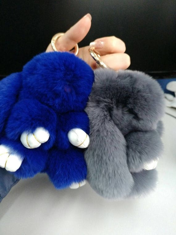 920a07e9a6c Real Fur Bunny Keychains Royal Blue Light   Etsy