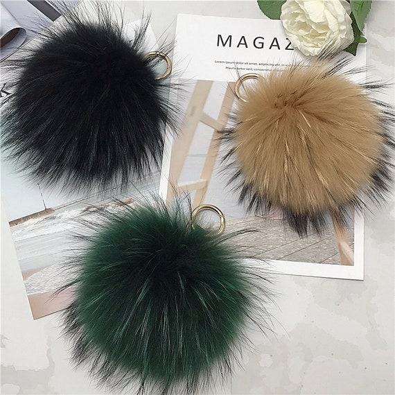 Pom Pom Keychain-Real Mink Fur Purse Charm dark green Puffs  6a6e3ca59446d