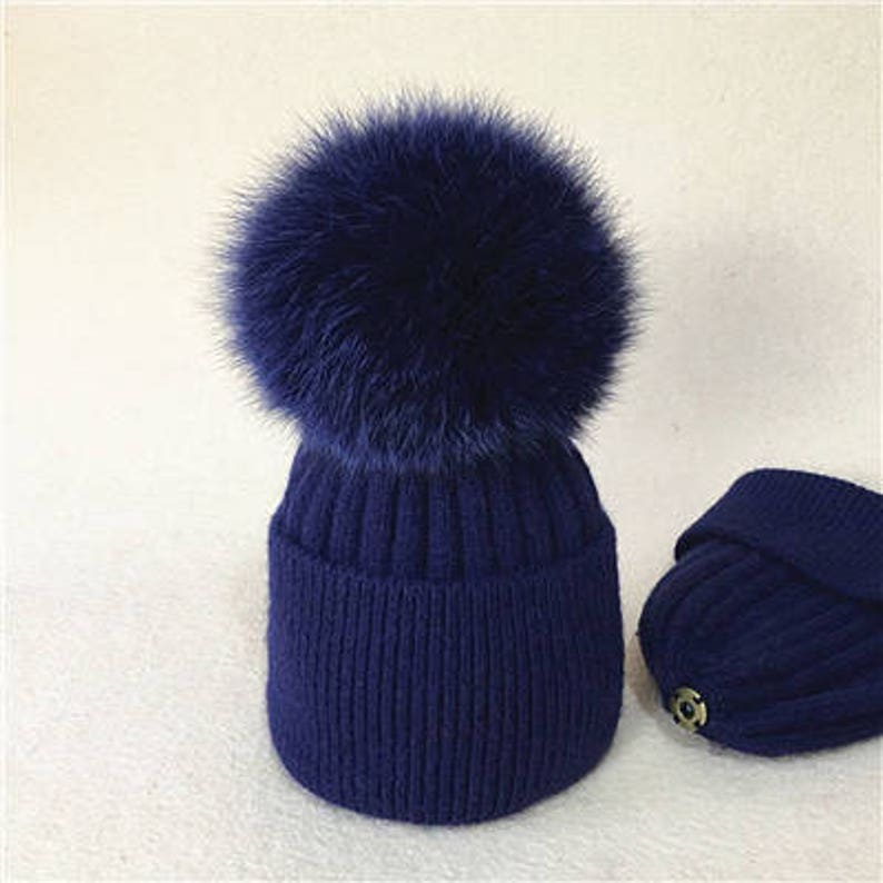 7cfe61d3037 Navy Wool Knit Baby Beanie Navy blue Fox Pompoms Hat Baby Hats