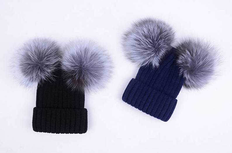 Double fur balls Beanies Custom Children Adult Hats Knit Black  f05e083493e