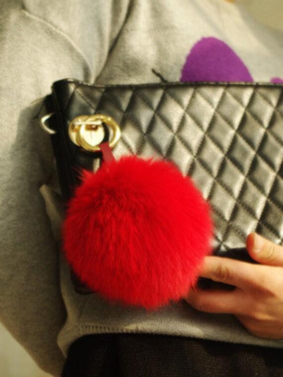 2d17d28a39a Fox Fur Ball Purse Charm Fuzzy Keychain Big Fluffy Pom Poms   Etsy