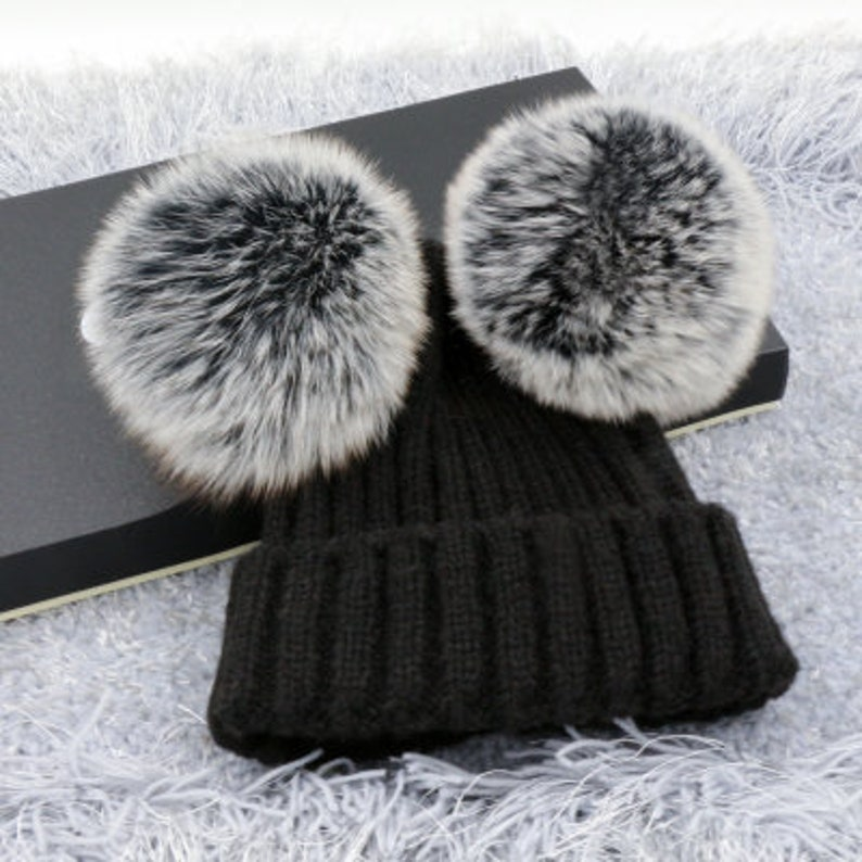 Two puffs balls beanies double pom poms winter hat Wool Cotton  e90a369e80f